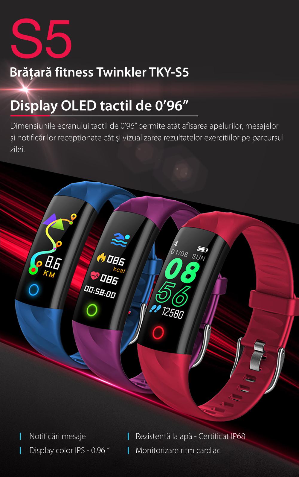 Bratara fitness inteligenta TKY-S5 cu functie de monitorizare ritm cardiac, Tensiune arteriala, Monitorizare somn, Pedometru, Notificari, Iluminare LED, Rosie
