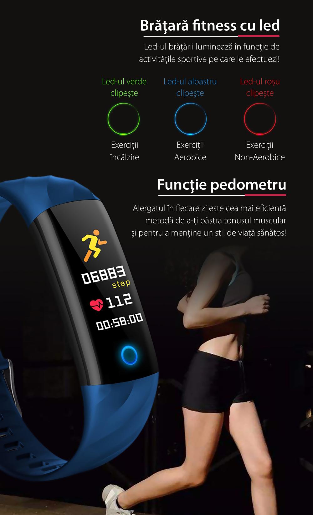Bratara fitness inteligenta TKY-S5 cu functie de monitorizare ritm cardiac, Tensiune arteriala, Monitorizare somn, Pedometru, Notificari, Iluminare LED, Neagra