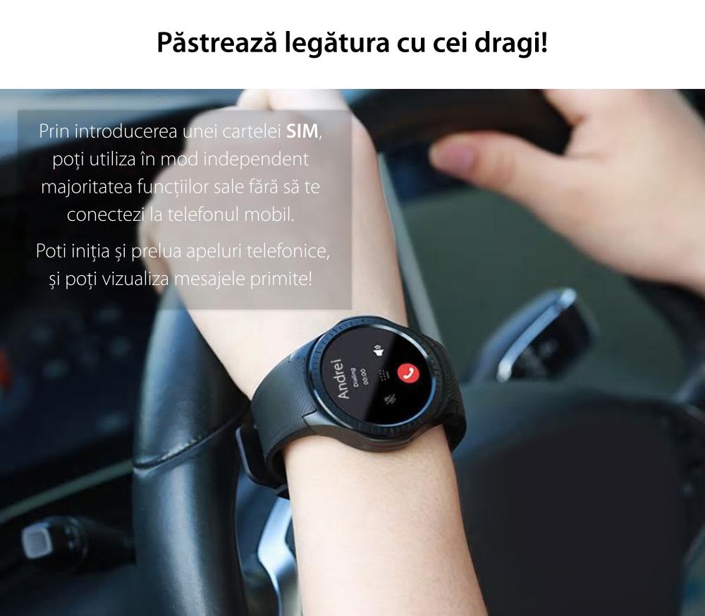Ceas Smartwatch TKY-L1 cu Functie Apelare, Ritm cardiac, Tensiune arteriala, Camera, GPS, Barometru, Busola, Pedometru, Notificari, Rosu
