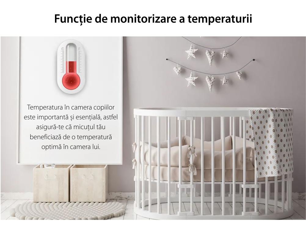 Baby Monitor Wireless 851, Monitorizare Audio – Video, Monitorizare temperatura, Comunicare bidirectionala, Cantece de leagan, Night Vision, Baterie incorporata
