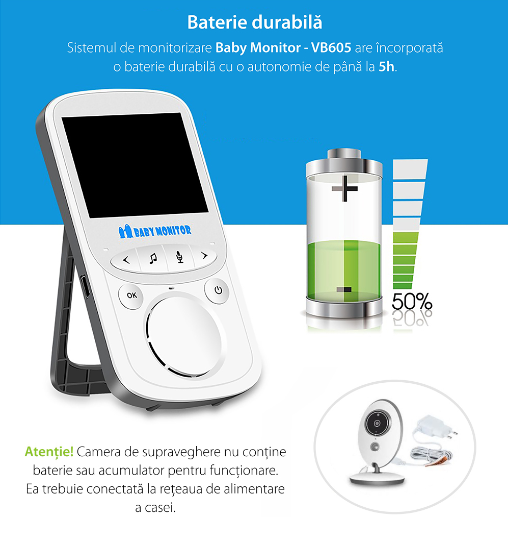 Baby Monitor Wireless VB605, Monitorizare Audio – Video, Monitorizare temperatura, Comunicare bidirectionala, Cantece de leagan, Night Vision, Baterie incorporata