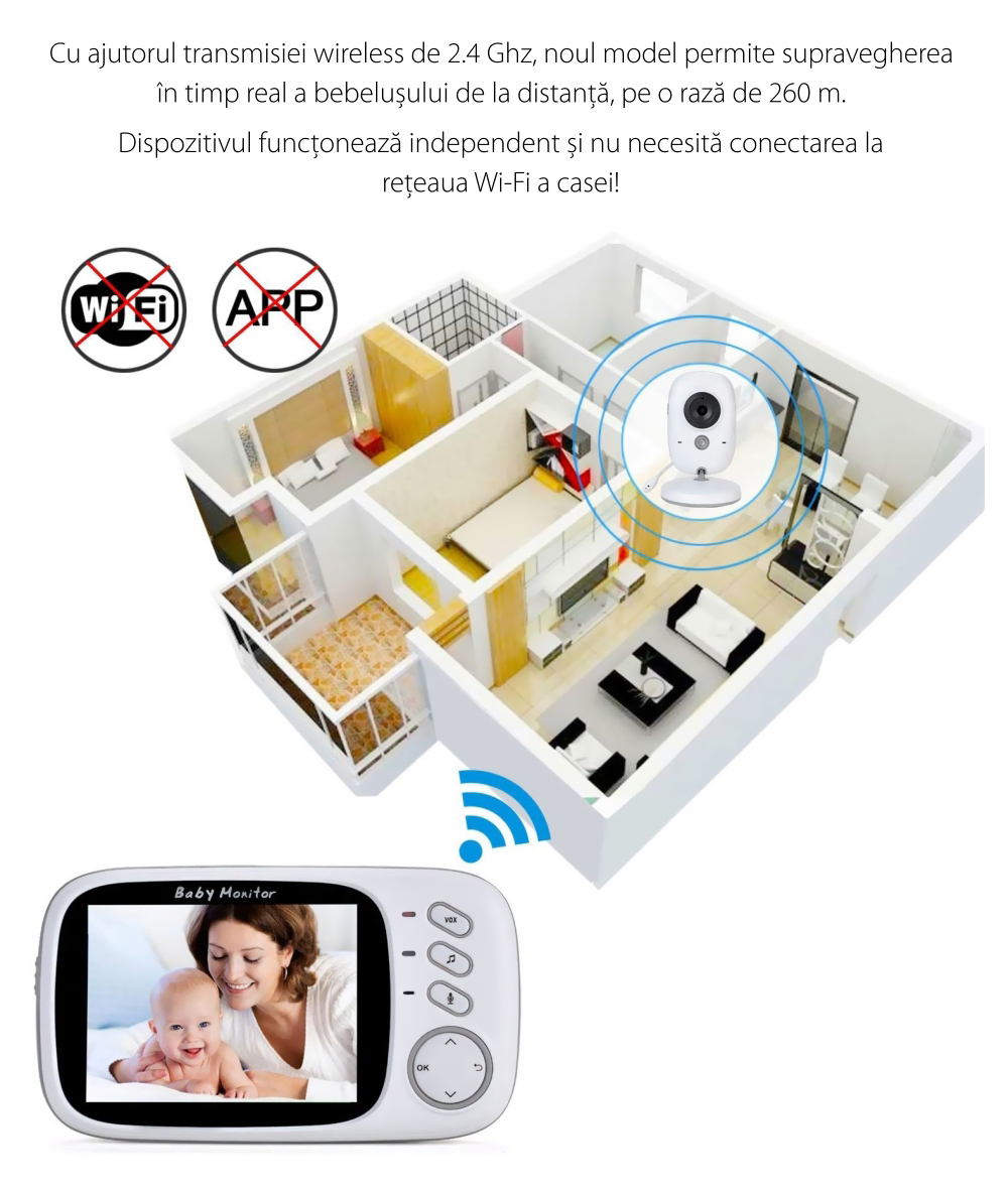 Baby Monitor Wireless VB603, Monitorizare Audio – Video, Monitorizare temperatura, Comunicare bidirectionala, Cantece de leagan, Night Vision, Baterie incorporata