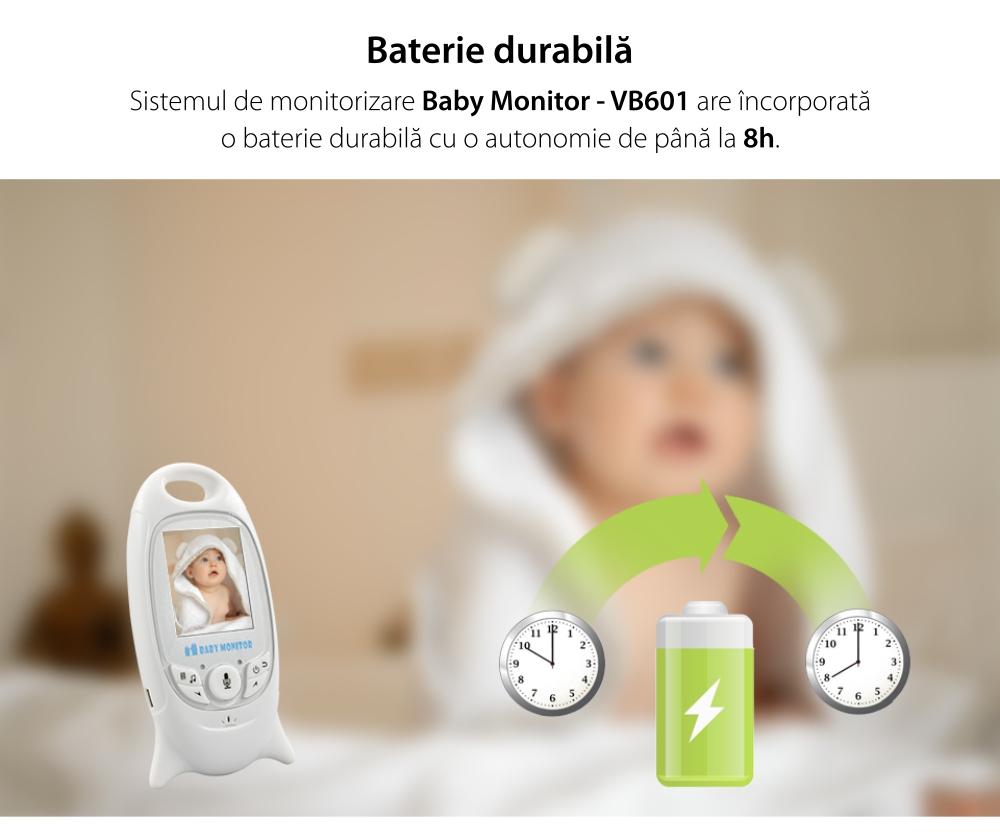 Baby Monitor Wireless VB601, Monitorizare Audio – Video, Monitorizare temperatura, Comunicare bidirectionala, Cantece de leagan, Night Vision, Baterie incorporata