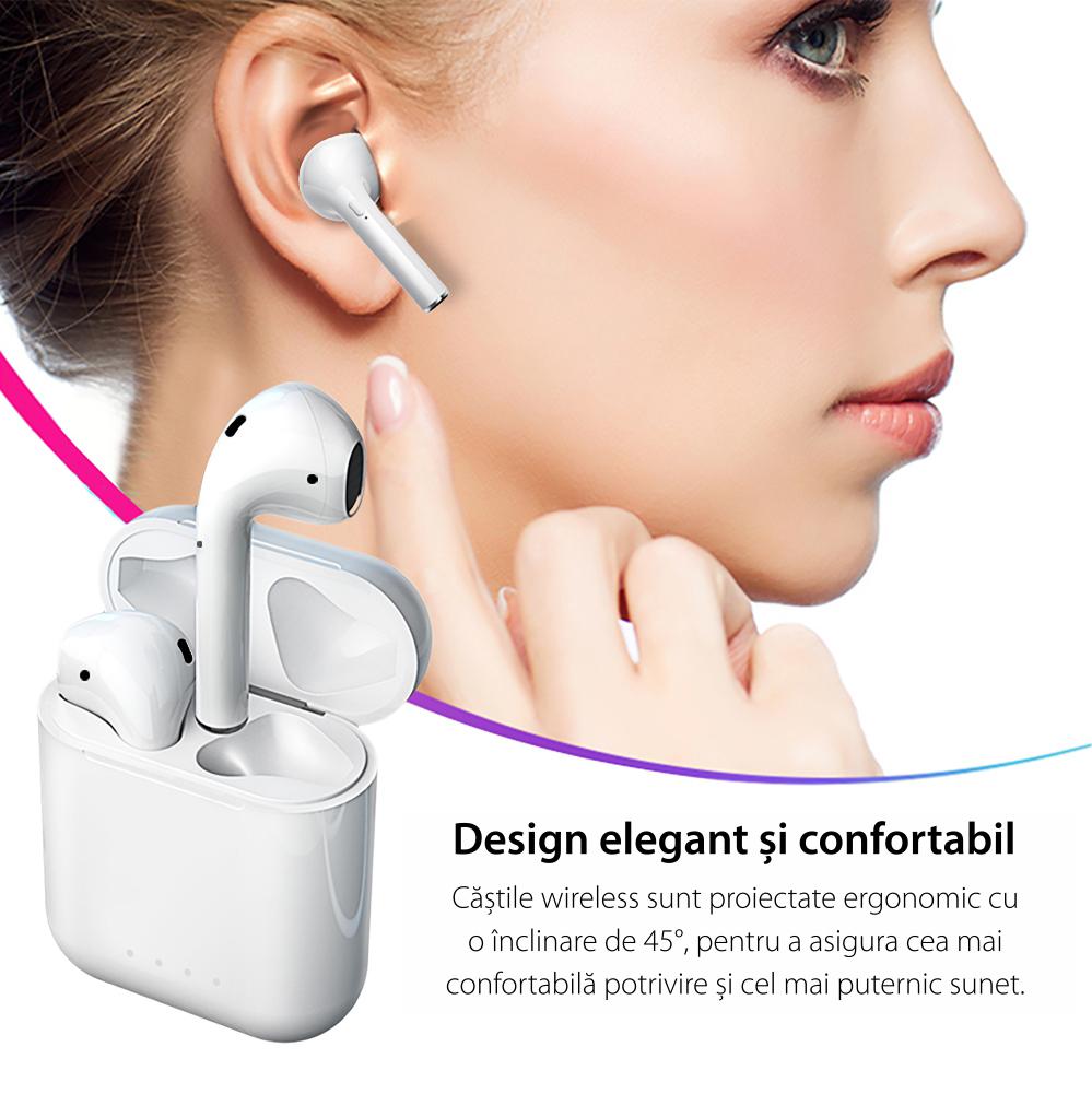 Casti wireless Bluetooth I88 Stereo cu Functie apelare, Control muzica, Cutie incarcare inclusa, SIRI, Android/ iOS, Rosu