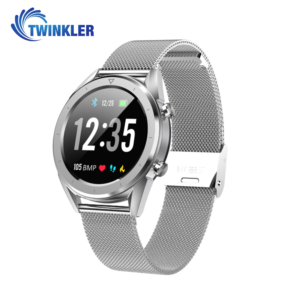 Ceas Smartwatch TKY-DT28 Metal cu Functie EKG, Ritm cardiac, Tensiune arteriala, Nivel oxigen, Altitudine, Presiune, Radiatii UV, Pedometru, Notificari, Argintiu imagine
