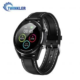 Ceas Smartwatch TKY-DT28 Silicon cu Functie EKG, Ritm cardiac, Tensiune arteriala, Nivel oxigen, Altitudine, Presiune, Radiatii UV, Pedometru, Notificari, Negru