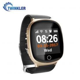 Ceas Smartwatch Pentru Adulti / Varstnici Twinkler TKY-D100 cu Functie Telefon, Localizare GPS, Senzor puls, SOS, Pedometru, Istoric traseu, Alerta la cadere, Auriu
