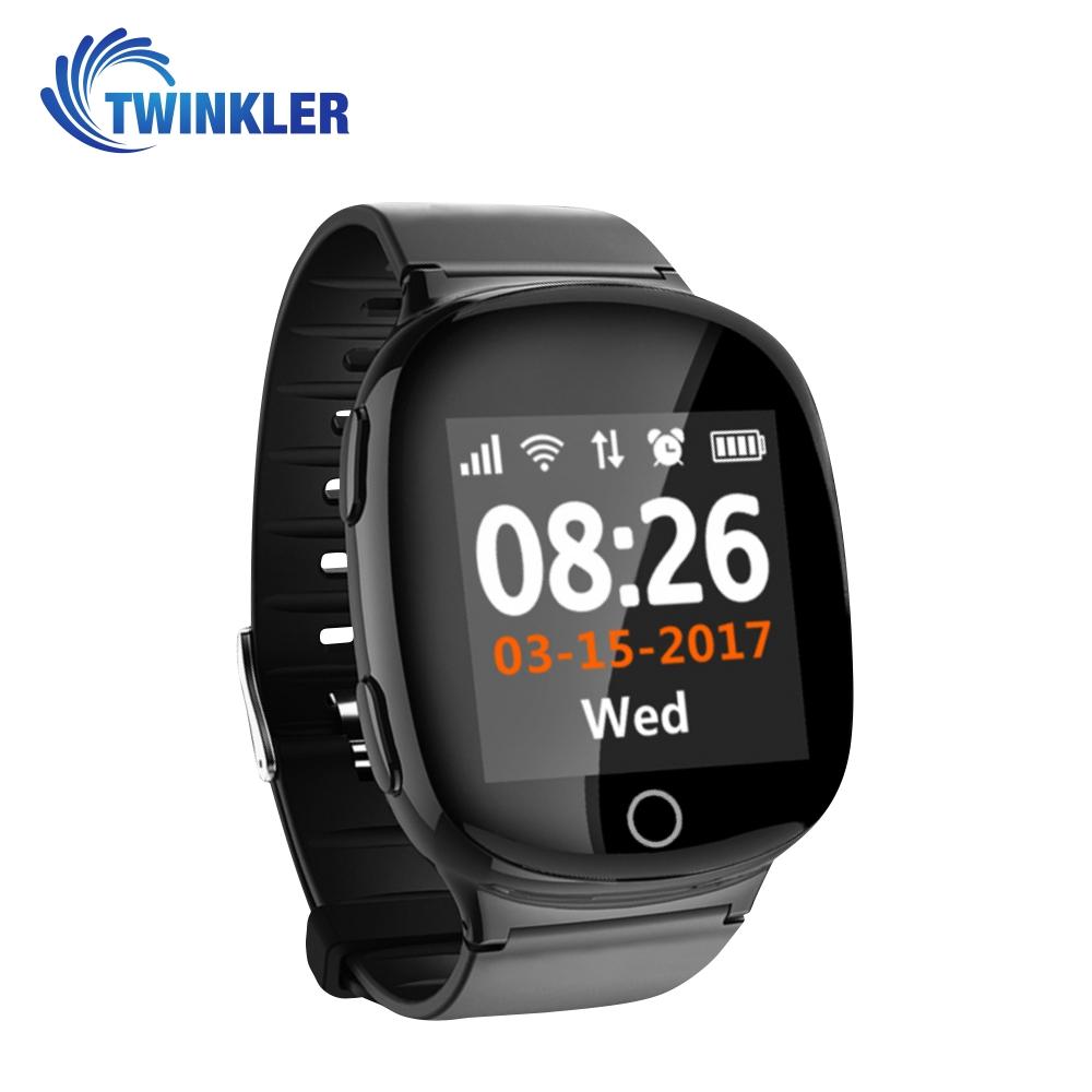 Ceas Smartwatch Pentru Adulti / Varstnici Twinkler TKY-D100 cu Functie Telefon, Localizare GPS, Senzor puls, SOS, Pedometru, Istoric traseu, Alerta la cadere, Negru imagine