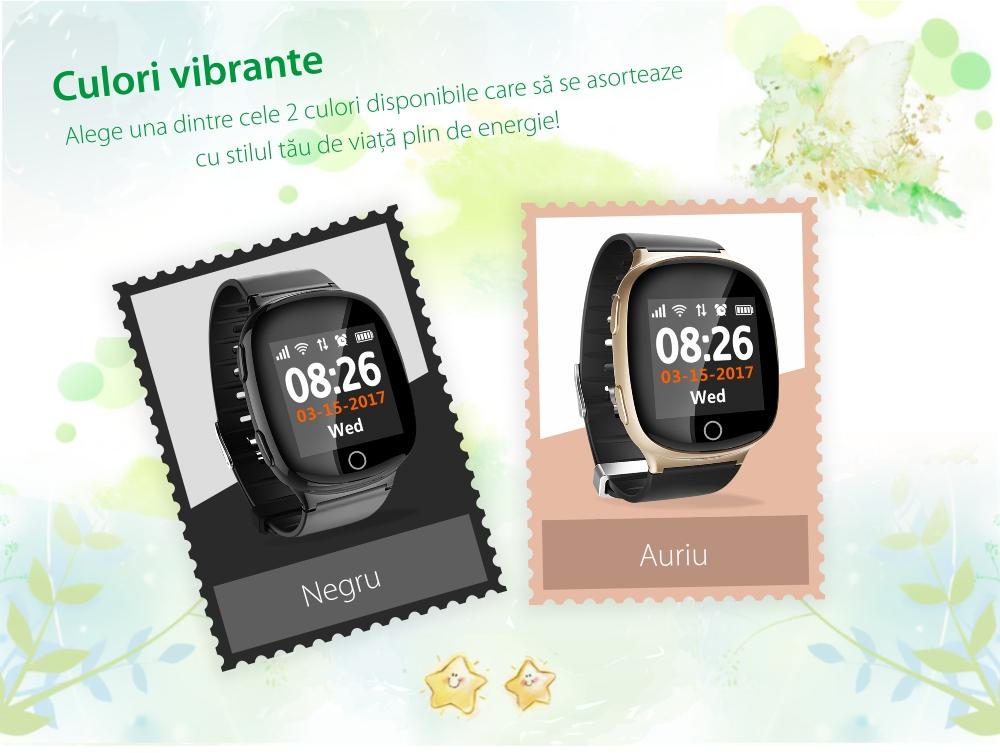 Ceas Smartwatch Pentru Adulti / Varstnici Twinkler TKY-D100 cu Functie Telefon, Localizare GPS, Senzor puls, SOS, Pedometru, Istoric traseu, Alerta la cadere, Negru