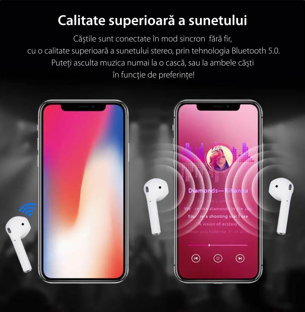 Casti wireless Bluetooth I9s Stereo cu Functie apelare, Control muzica, Cutie incarcare inclusa, Android/ iOS, Alb