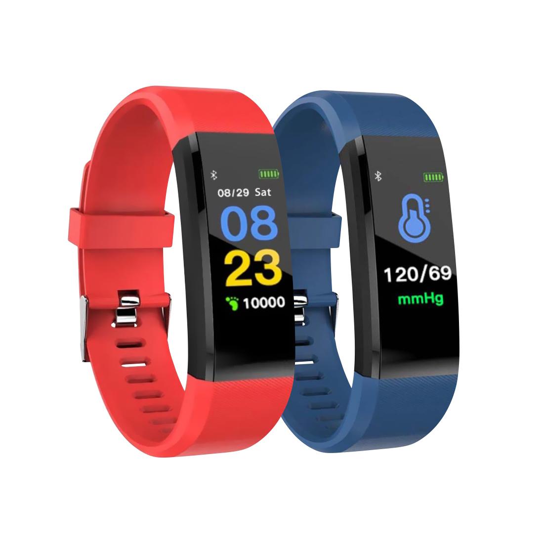 Pachet Promotional 2 Bratari fitness inteligente I15+ cu masurarea tensiunii arteriale si a ritmului cardiac, Rosie + Albastra imagine