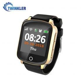 Ceas Smartwatch Pentru Adulti / Varstnici Twinkler TKY-D200 cu Functie Telefon, Senzor puls, Tensiune arteriala, Localizare GPS, Pedometru, SOS, Istoric traseu, Auriu