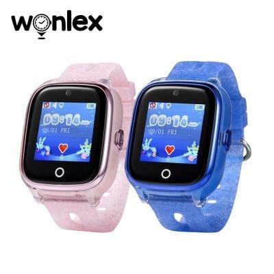 Pachet Promotional 2 Smartwatch-uri Pentru Copii Wonlex KT01 cu Functie Telefon, Localizare GPS, Camera, Pedometru, SOS, IP54, Roz + Albastru, Cartela SIM Cadou
