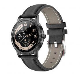 Ceas Smartwatch TKY-CF18 cu Functie de monitorizare ritm cardiac, Tensiune arteriala, Notificari Apel/ SMS, Pedometru, Functie respingere apel, Negru