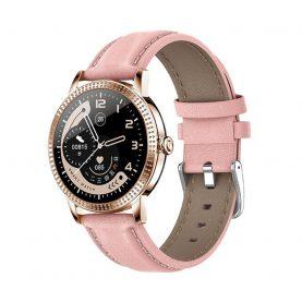 Ceas Smartwatch TKY-CF18 cu Functie de monitorizare ritm cardiac, Tensiune arteriala, Notificari Apel/ SMS, Pedometru, Functie respingere apel, Roz – Auriu
