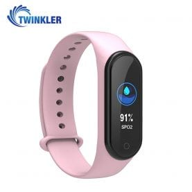 Bratara fitness inteligenta TKY-M4 Plus cu masurarea tensiunii arteriale, Ritm cardiac, Nivel oxigen, Notificari, Pedometru, Bluetooth, Incarcare magnetica, Roz
