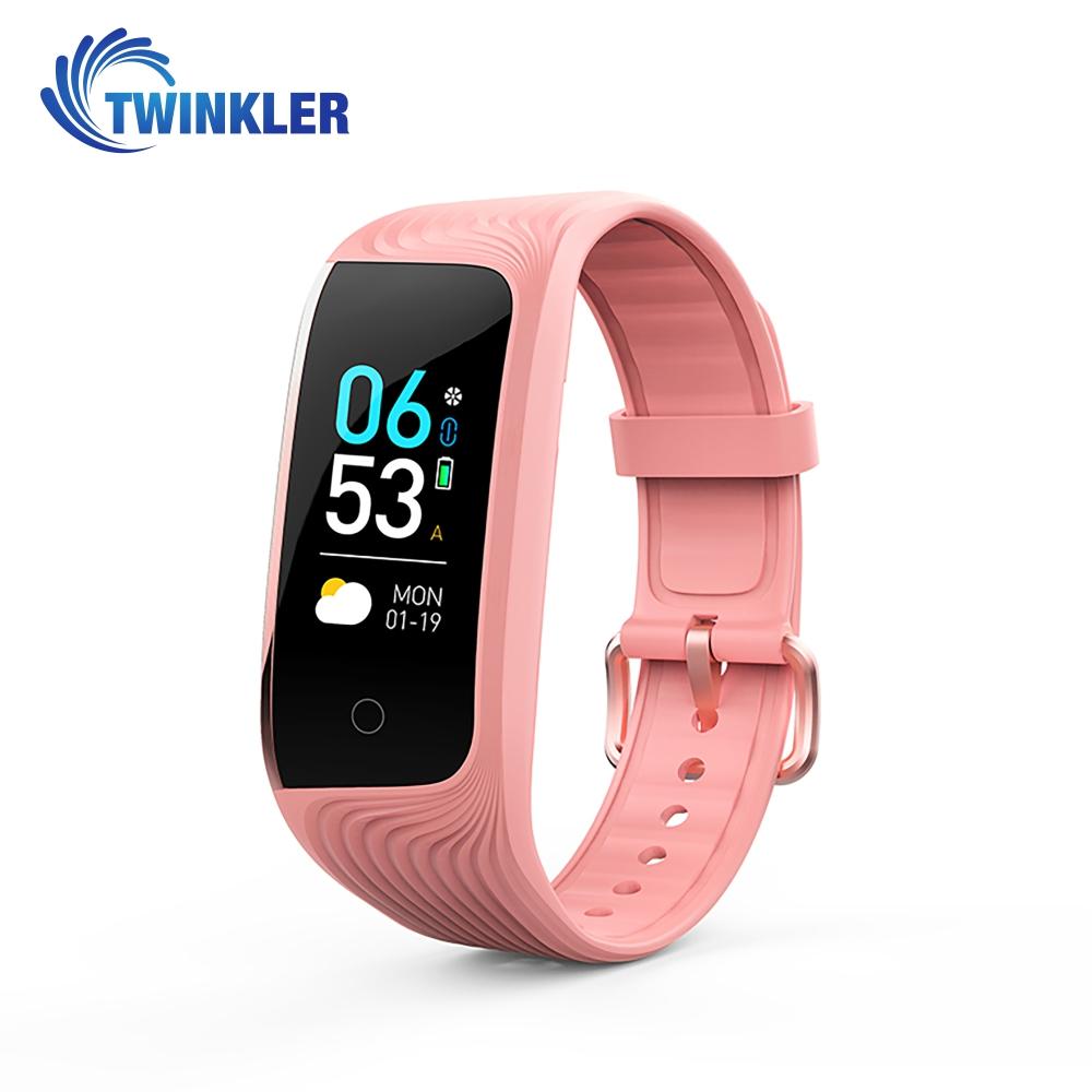 Bratara fitness inteligenta TKY-S4 cu functie de monitorizare ritm cardiac, Monitorizare somn, Monitorizare activitate GPS, Istoric traseu, Notificari Apel/ SMS, Incarcare magnetica, Roz imagine