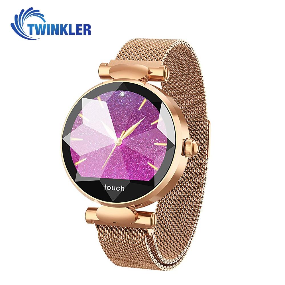 Ceas Smartwatch fitness fashion TKY-B80 Metal cu functie de monitorizare ritm cardiac, Tensiune arteriala, Monitorizare somn, Notificari Apel/ SMS, Auriu imagine