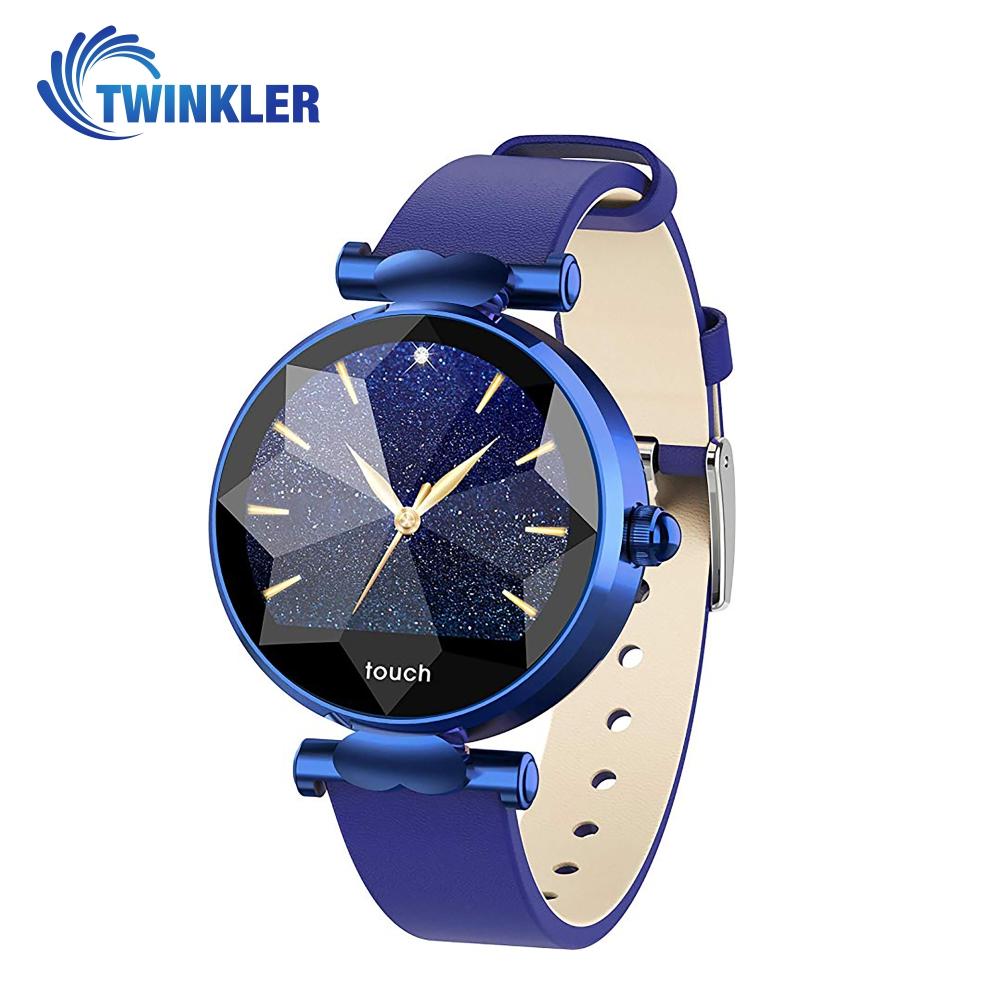 Ceas Smartwatch fitness fashion TKY-B80 Piele cu functie de monitorizare ritm cardiac, Tensiune arteriala, Monitorizare somn, Notificari Apel/ SMS, Albastru imagine