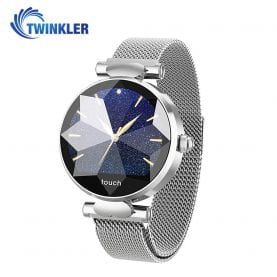 Ceas Smartwatch fitness fashion TKY-B80 Metal cu functie de monitorizare ritm cardiac, Tensiune arteriala, Monitorizare somn, Notificari Apel/ SMS, Argintiu