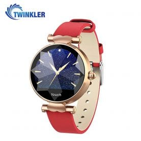Ceas Smartwatch fitness fashion TKY-B80 Piele cu functie de monitorizare ritm cardiac, Tensiune arteriala, Monitorizare somn, Notificari Apel/ SMS, Auriu – Rosu