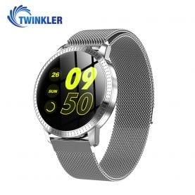 Ceas Smartwatch TKY-CF18 cu Functie de monitorizare ritm cardiac, Tensiune arteriala, Notificari Apel/ SMS, Pedometru, Functie respingere apel, Argintiu