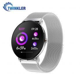 Ceas Smartwatch fitness fashion TKY-K9 Metal cu functie de monitorizare ritm cardiac, Tensiune arteriala, Monitorizare somn, Notificari Apel/ SMS, Nivel Oxigen, Argintiu
