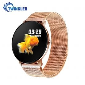 Ceas Smartwatch fitness fashion TKY-K9 Metal cu functie de monitorizare ritm cardiac, Tensiune arteriala, Monitorizare somn, Notificari Apel/ SMS, Nivel Oxigen, Auriu