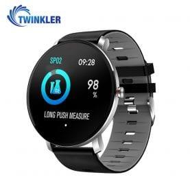 Ceas Smartwatch fitness fashion TKY-K9 Silicon cu functie de monitorizare ritm cardiac, Tensiune arteriala, Monitorizare somn, Notificari Apel/ SMS, Nivel Oxigen, Gri