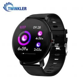 Ceas Smartwatch fitness fashion TKY-K9 Silicon cu functie de monitorizare ritm cardiac, Tensiune arteriala, Monitorizare somn, Notificari Apel/ SMS, Nivel Oxigen, Negru