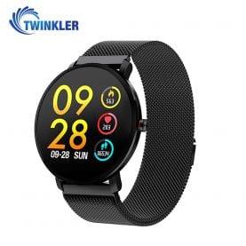 Ceas Smartwatch fitness fashion TKY-K9 Metal cu functie de monitorizare ritm cardiac, Tensiune arteriala, Monitorizare somn, Notificari Apel/ SMS, Nivel Oxigen, Negru