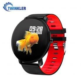 Ceas Smartwatch fitness fashion TKY-K9 Silicon cu functie de monitorizare ritm cardiac, Tensiune arteriala, Monitorizare somn, Notificari Apel/ SMS, Nivel Oxigen, Rosu