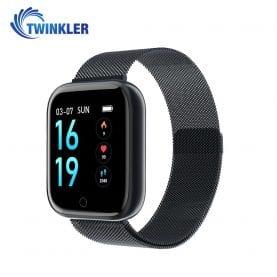 Ceas Smartwatch TKY-P68 cu functie de monitorizare ritm cardiac, Tensiune arteriala, Nivel oxigen, Monitorizare somn, Notificari Apel/ SMS, Bluetooth, Incarcare magnetica, Negru