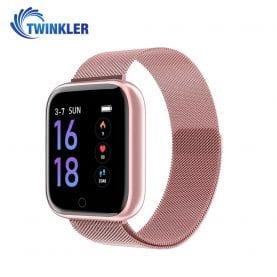 Ceas Smartwatch TKY-P68 cu functie de monitorizare ritm cardiac, Tensiune arteriala, Nivel oxigen, Monitorizare somn, Notificari Apel/ SMS, Bluetooth, Incarcare magnetica, Roz