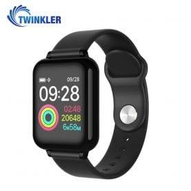 Ceas Smartwatch TKY-FT07 cu functie de monitorizare ritm cardiac, Tensiune arteriala, Nivel oxigen, Notificari Apel/ SMS, Prognoza meteo, Mod sport, Negru