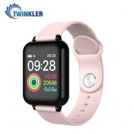 Ceas Smartwatch TKY-FT07 cu functie de monitorizare ritm cardiac, Tensiune arteriala, Nivel oxigen, Notificari Apel/ SMS, Prognoza meteo, Mod sport, Roz