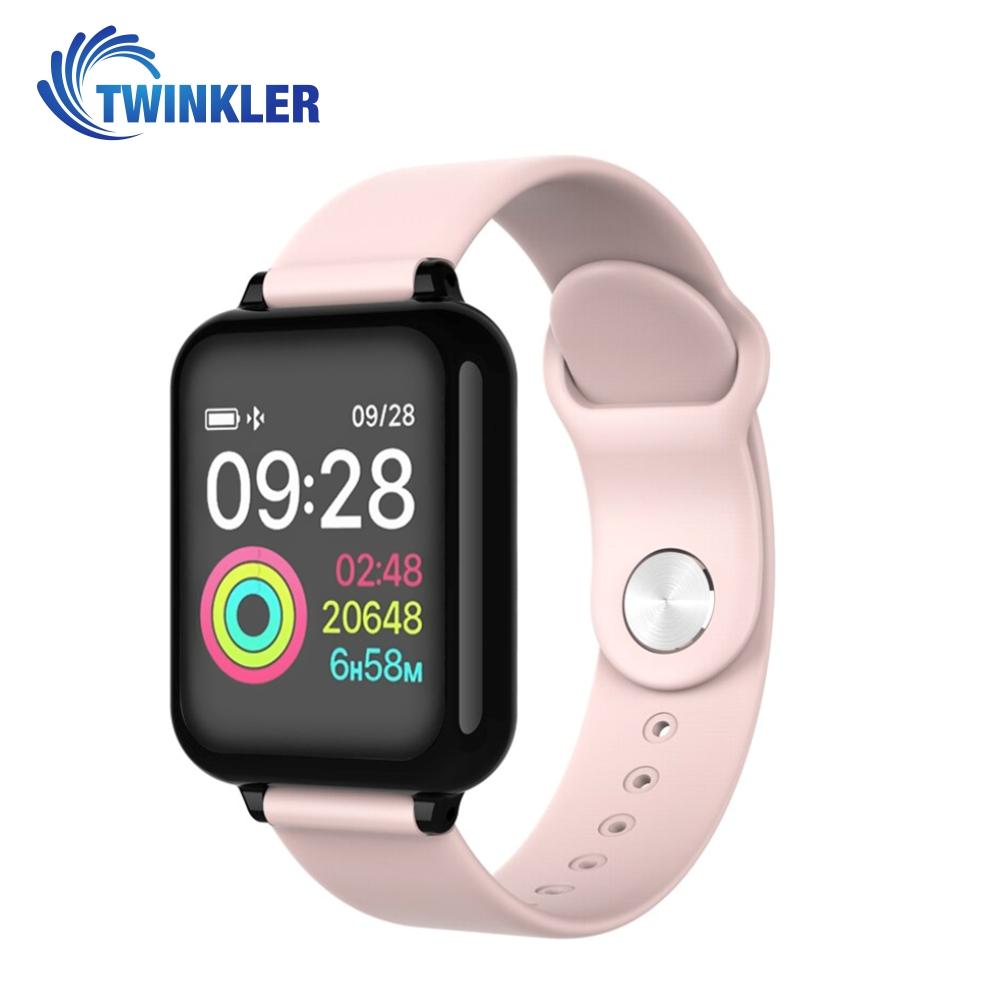 Ceas Smartwatch TKY-FT07 cu functie de monitorizare ritm cardiac, Tensiune arteriala, Nivel oxigen, Notificari Apel/ SMS, Prognoza meteo, Mod sport, Roz imagine