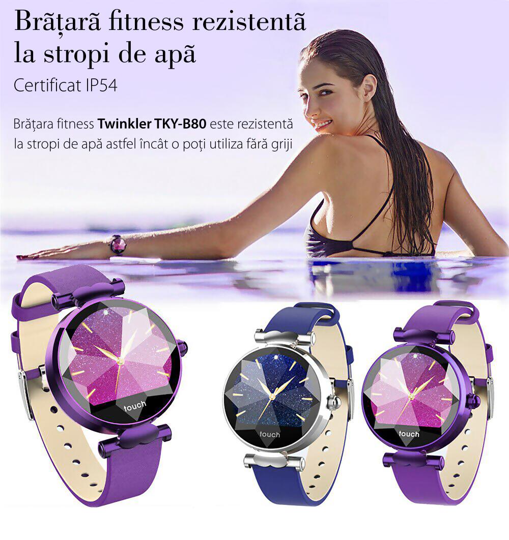 Ceas Smartwatch fitness fashion TKY-B80 Piele cu functie de monitorizare ritm cardiac, Tensiune arteriala, Monitorizare somn, Notificari Apel/ SMS, Mov