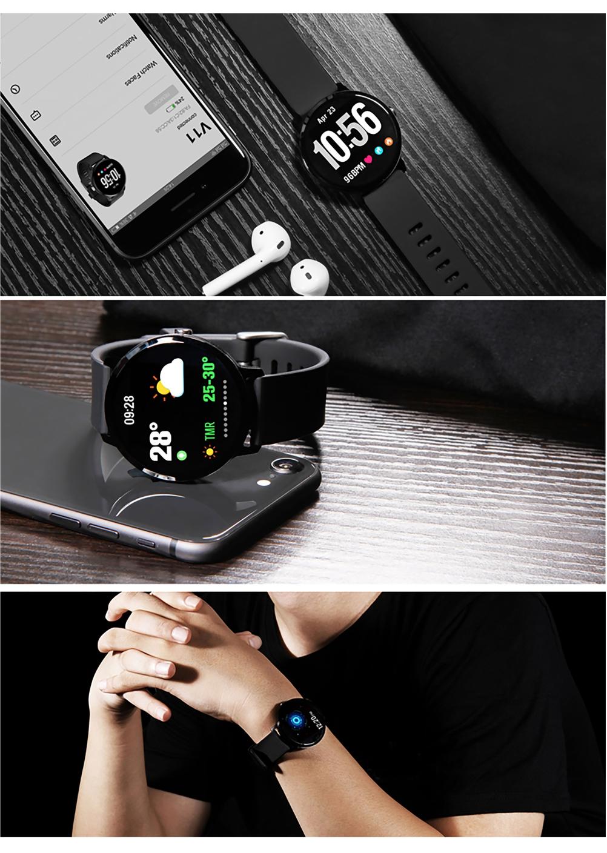 Ceas Smartwatch TKY-V11 cu Functie de monitorizare ritm cardiac, Tensiune arteriala, Nivel oxigen,  Monitorizare somn, Notificari Apel/ SMS, Negru