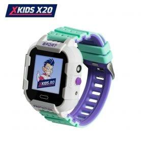 Ceas Smartwatch Pentru Copii Xkids X20 cu Functie Telefon, Localizare GPS, Apel monitorizare, Camera, Pedometru, SOS, IP54, Incarcare magnetica, Alb – Verde, Cartela SIM Cadou