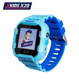 Ceas Smartwatch Pentru Copii Xkids X20 cu Functie Telefon, Localizare GPS, Apel monitorizare, Camera, Pedometru, SOS, IP54, Incarcare magnetica, Albastru, Cartela SIM Cadou