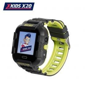 Ceas Smartwatch Pentru Copii Xkids X20 cu Functie Telefon, Localizare GPS, Apel monitorizare, Camera, Pedometru, SOS, IP54, Incarcare magnetica, Negru – Verde Lamaie, Cartela SIM Cadou