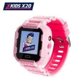 Ceas Smartwatch Pentru Copii Xkids X20 cu Functie Telefon, Localizare GPS, Apel monitorizare, Camera, Pedometru, SOS, IP54, Incarcare magnetica, Roz, Cartela SIM Cadou