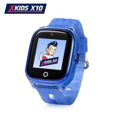 Ceas Smartwatch Pentru Copii Xkids X10 cu Functie Telefon, Localizare GPS, Apel monitorizare, Camera, Pedometru, SOS, IP54, Albastru, Cartela SIM Cadou