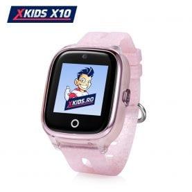 Ceas Smartwatch Pentru Copii Xkids X10 cu Functie Telefon, Localizare GPS, Apel monitorizare, Camera, Pedometru, SOS, IP54, Incarcare magnetica – Roz Pal, Cartela SIM Cadou