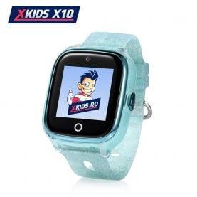 Ceas Smartwatch Pentru Copii Xkids X10 cu Functie Telefon, Localizare GPS, Apel monitorizare, Camera, Pedometru, SOS, IP54, Incarcare magnetica – Turcoaz, Cartela SIM Cadou