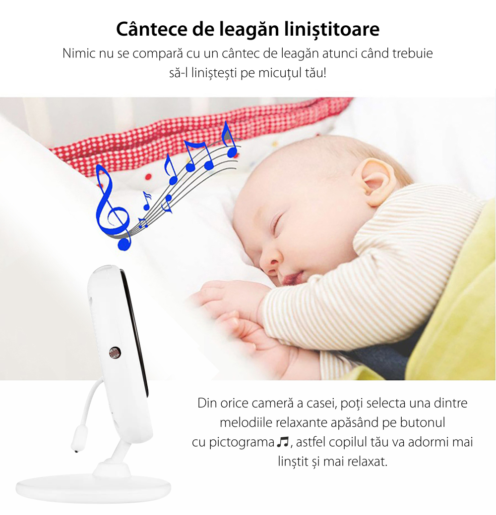 Baby Monitor Wireless BS-W236, Monitorizare Audio – Video, Monitorizare temperatura, Comunicare bidirectionala, Cantece de leagan, Night Vision, Mod ECO, Baterie incorporata