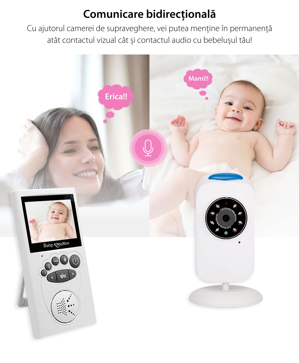 Baby Monitor Wireless BS-W235, Monitorizare Audio – Video, Monitorizare temperatura, Comunicare bidirectionala, Cantece de leagan, Night Vision, Mod ECO, Baterie incorporata
