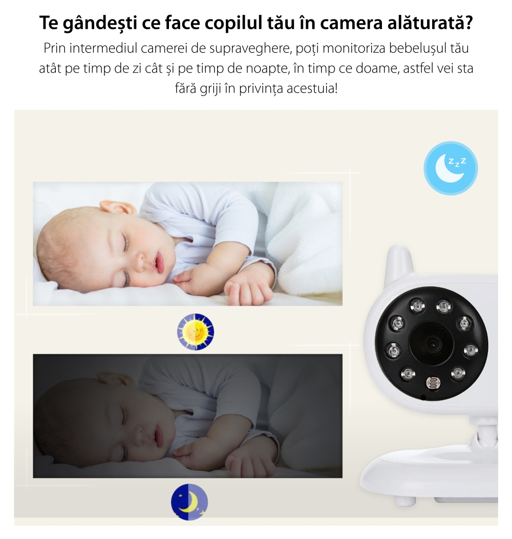 Baby Monitor Wireless BS-W217, Monitorizare Audio – Video, Lampa de veghe, Monitorizare temperatura, Comunicare bidirectionala, Cantece de leagan, Night Vision, Mod ECO, Baterie incorporata