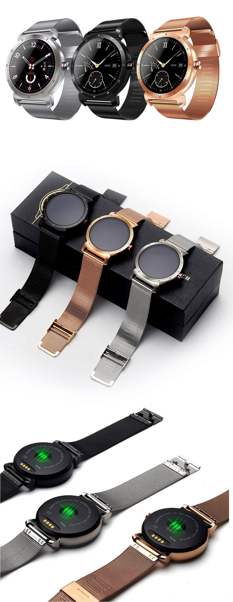 Ceas Smartwatch K88H Plus cu Functie Apelare prin Bluetooth, Senzor puls, Monitorizare somn, Notificari, Pedometru, Incarcare magnetica, Auriu